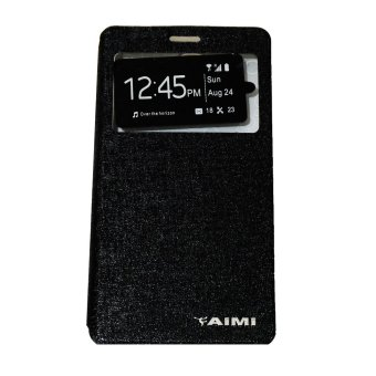 Aimi Leather Case Sarung Untuk Oppo Joy 3 A11W Flipshell/Flipcover - Hitam