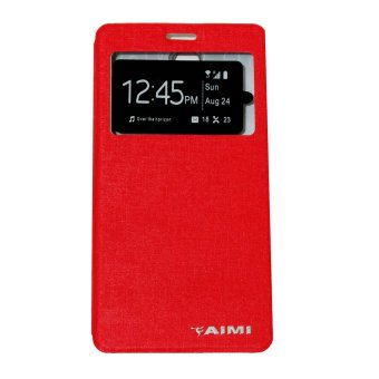 Aimi Leather Case Sarung Untuk Oppo Joy 3 A11W Flipshell/Flipcover  - Merah