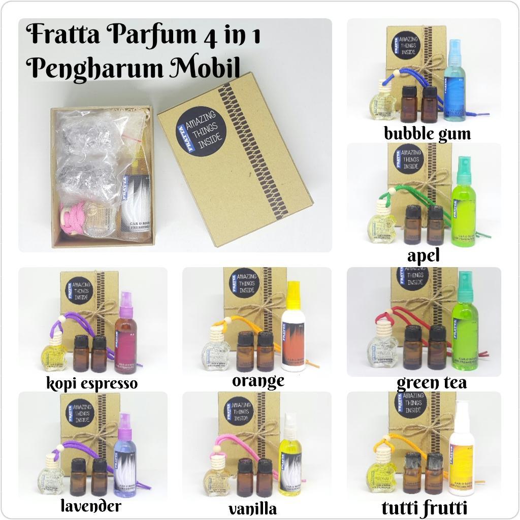 fratta paket 4 in 1 pengharum mobil ruangan parfum mobil gantung spray  (bubble gum kopi espresso green tea vanilla orange lavender apel tutti frutti)