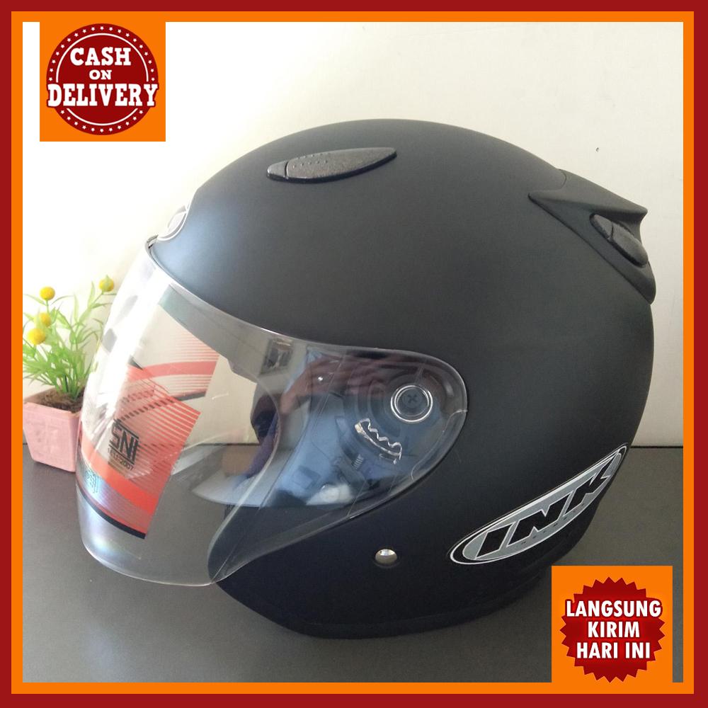 helm ink centro hitam metalik sni retro
