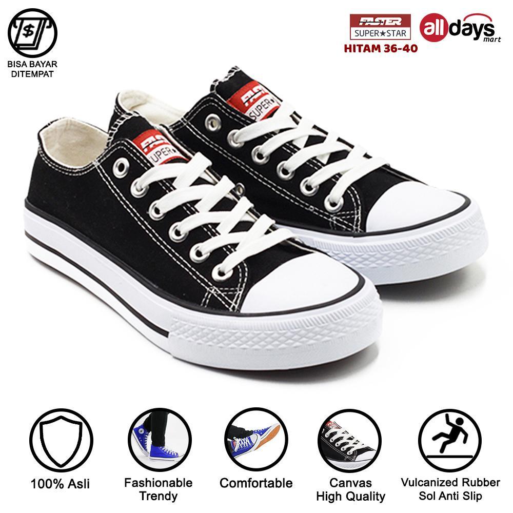 faster sepatu sneakers kanvas wanita 1603-03 – hitam size 36-40