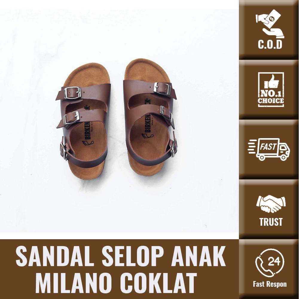 sandal selop anak milano coklat gesper 3 tali belakang