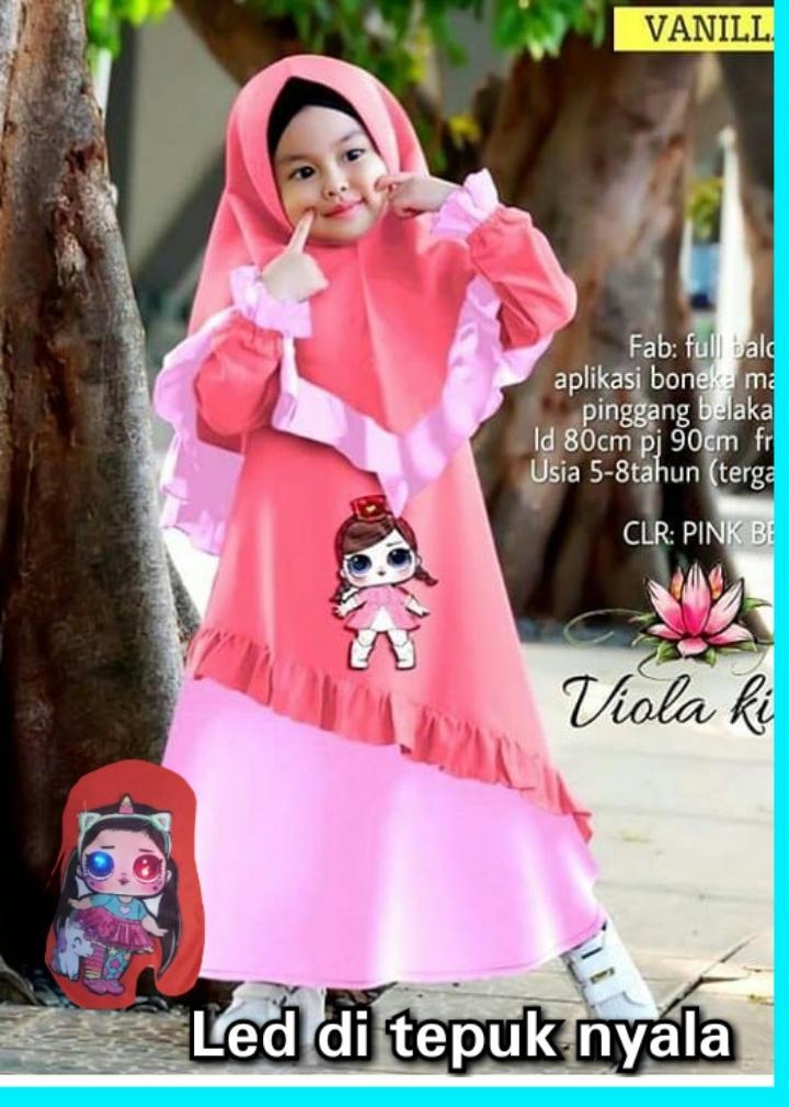 gamis anak  led nyala tepuk viola kids free jilbab size 2-10 tahun