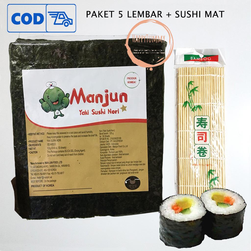 paket manjun 5 lembar yaki sushi nori sushimat rumput laut seaweed