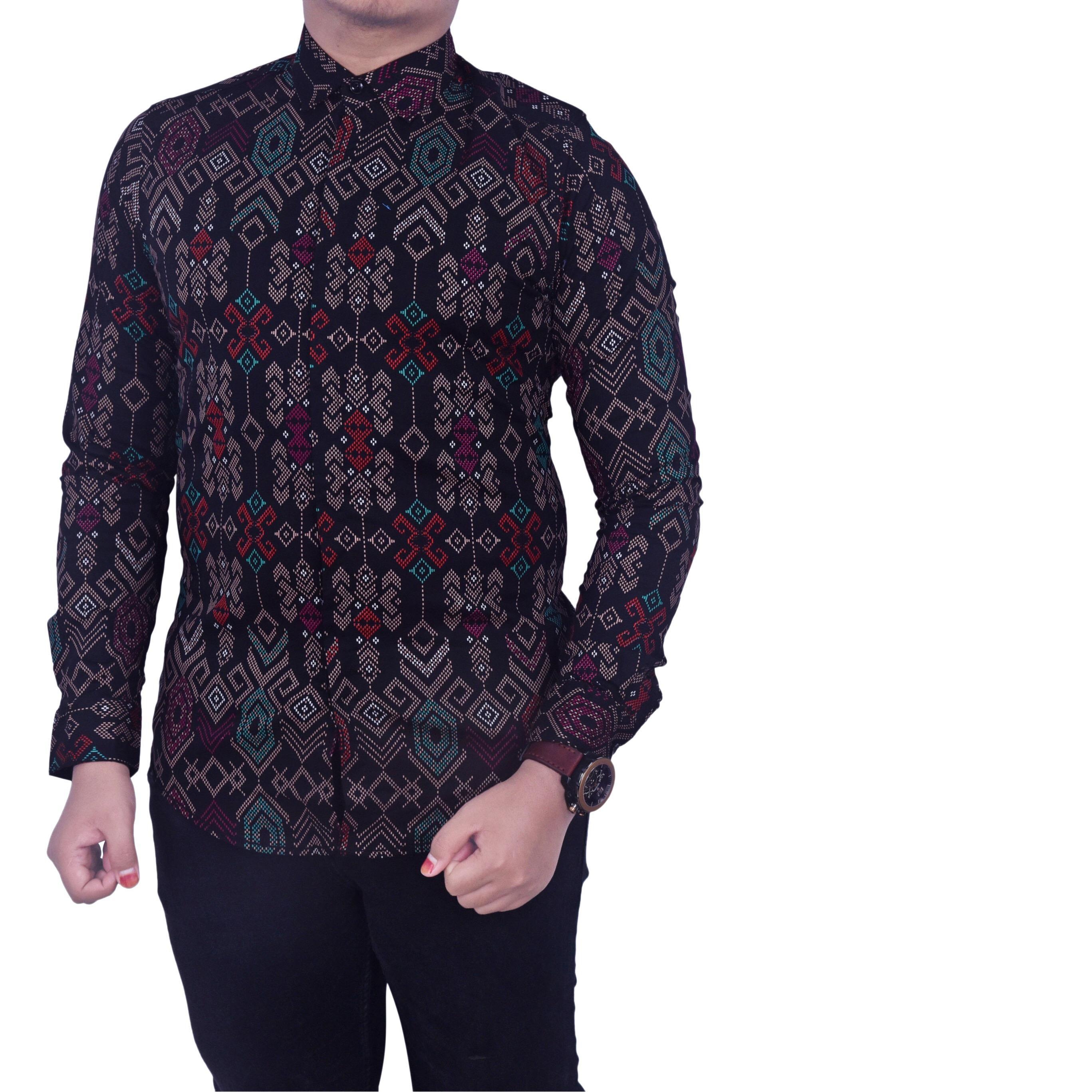 Review Kemeja Pria Polos Kombinasi Batik Maroon Keren Premium Dan