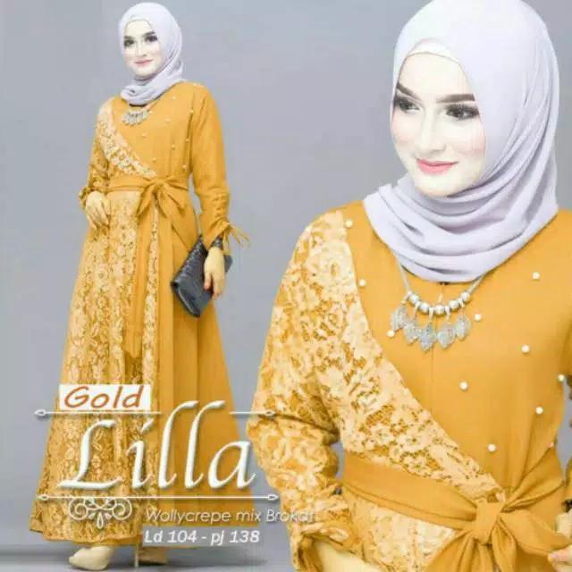 lilla maxy-dress brukat-gaun pesta-long dress-gamis brokat