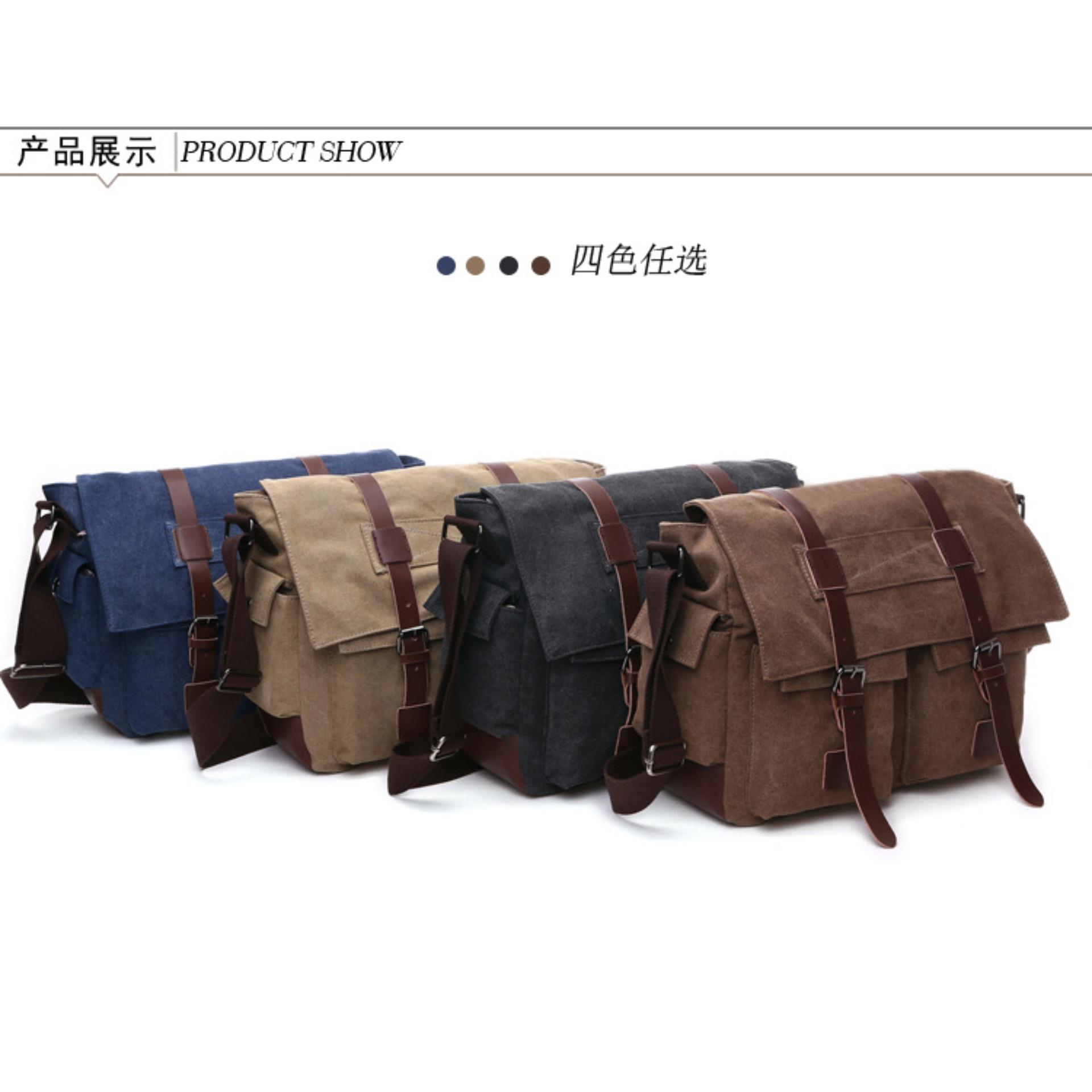 13a667d86404 Zuo Lun Duo Tas selempang pria Kanvas Shuolder bag Coklat. Legums
