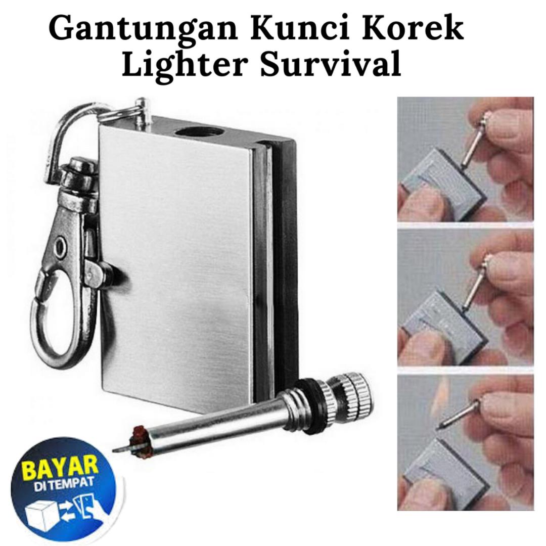 gantungan kunci korek minyak mancis kecil zippo lighter survival matches mini universal