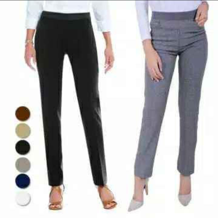 jakarta fashion – celana kantor wanita pinggang karet bahan stretch ( bisa bayar tempat)