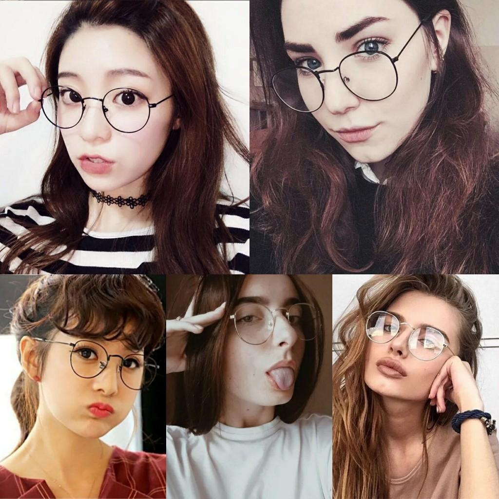 kacamata wanita oval gaya retro vintage frame eyeglasses mewah transparan jhon lenon multicolor