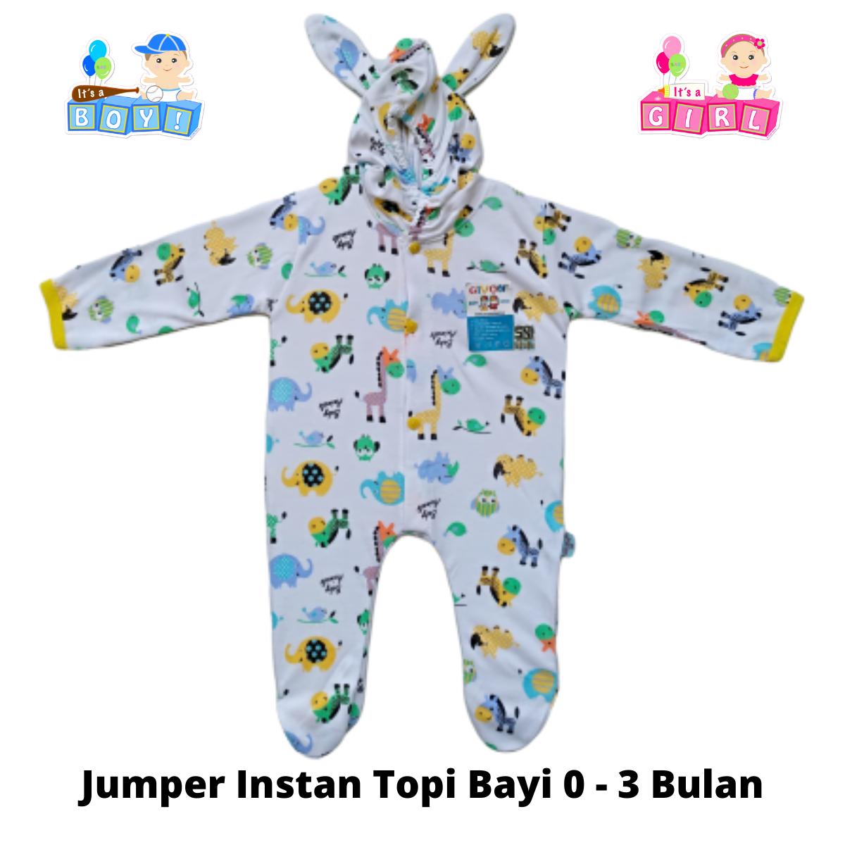 jumper topi bayi newborn  lahir  – baju bayi katun premium original givon baby wear