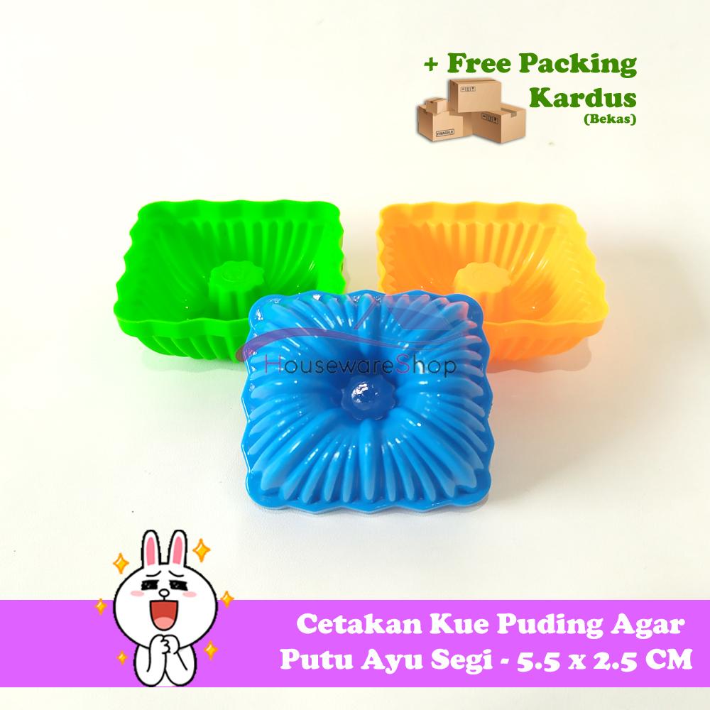 24 pcs x cetakan kue puding agar putu ayu segi – 5.5 x 2.5 cm
