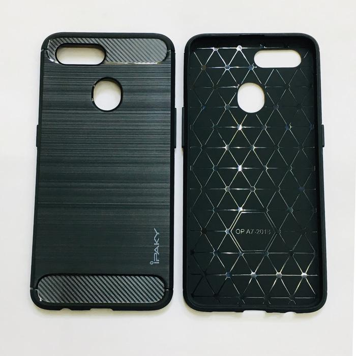 Case Ipaky Carbon Fiber OPPO A5s Softcase Shockproof TPU