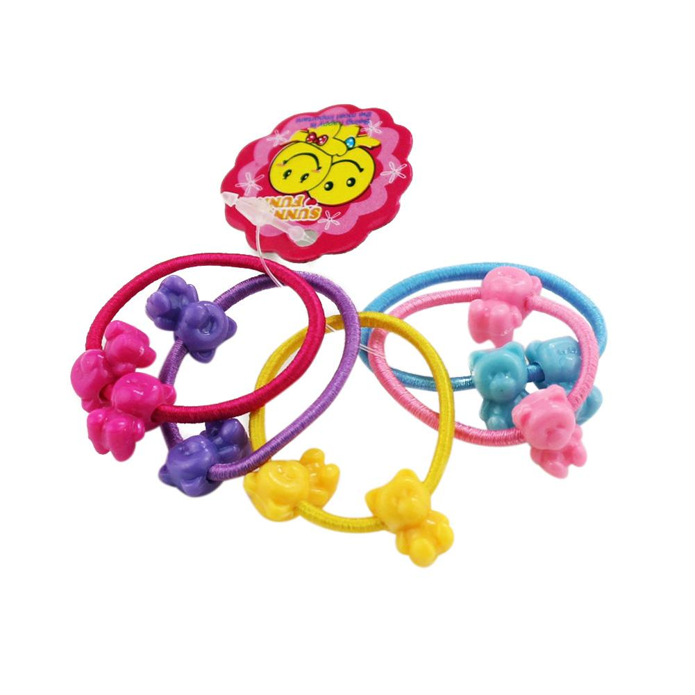 5 Pcs Cute Cartoon Children Colorful Elastic Hair Ponytail Tie Rope Holder Headdress Shape Mixing
