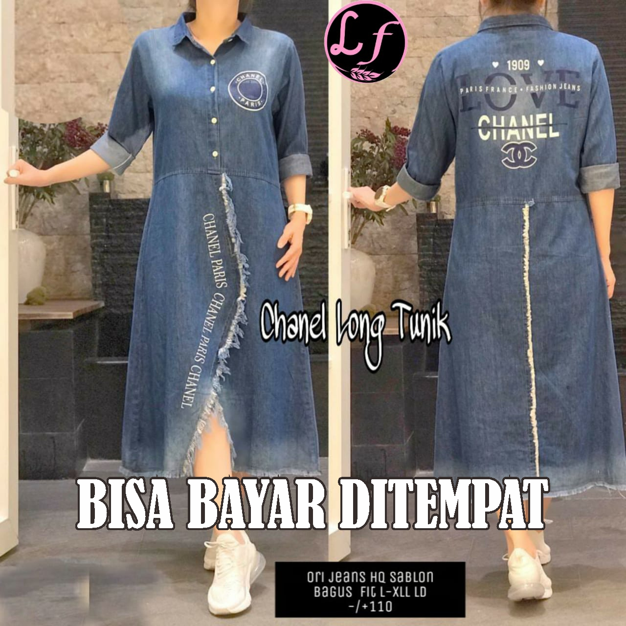 long tunik jeans polobordir 100