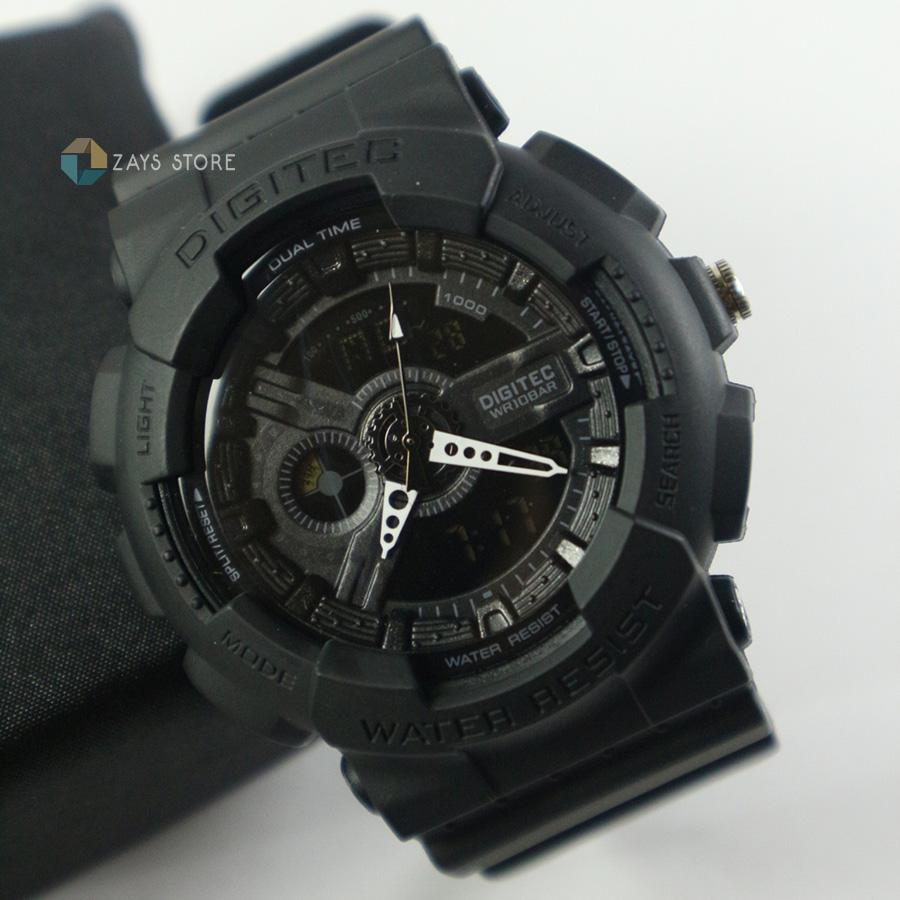 Jam Tangan Pria Sport Original Digitec Dual Time Outdoor Casual Watch Water Resistant Anti Air -