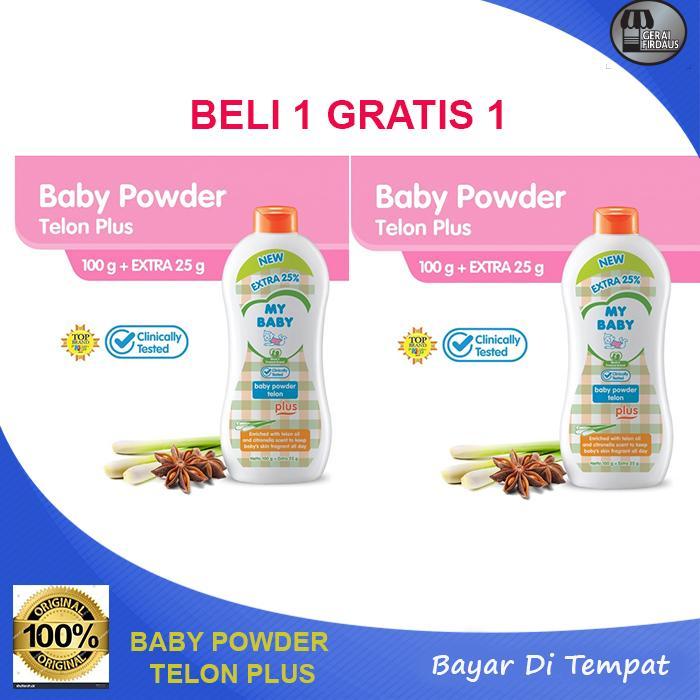 paket  my baby powder telon plus bedak bayi 100 g extra fill 25% [2 pcs]