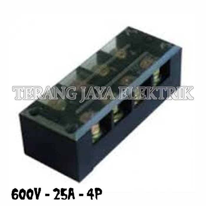 terminal blok kaca 4 pole 25a tb series terminal block tb-2504l