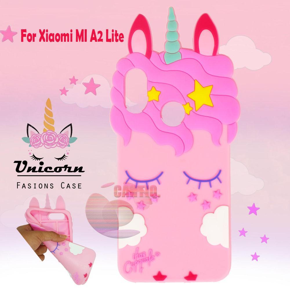 Icantiq 3D Cartoon Unicorn Case Xiaomi MI A2 Lite Softcase 4D Xiaomi MI A2 Lite Silicone