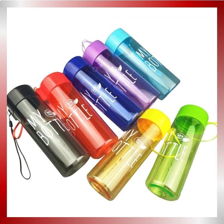 indo – (bahan pc) my bottle tali clear / free bubblewarp / free sarung tanpa kotak / 500 ml / colourful