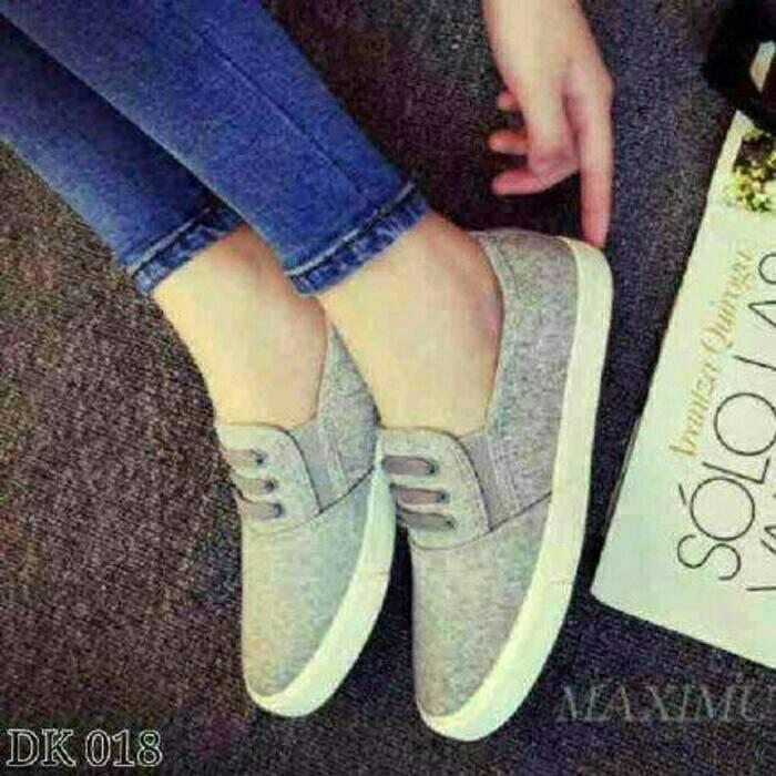 Ladang Online Flat Shoes YM T3 Jeans Denim Abu