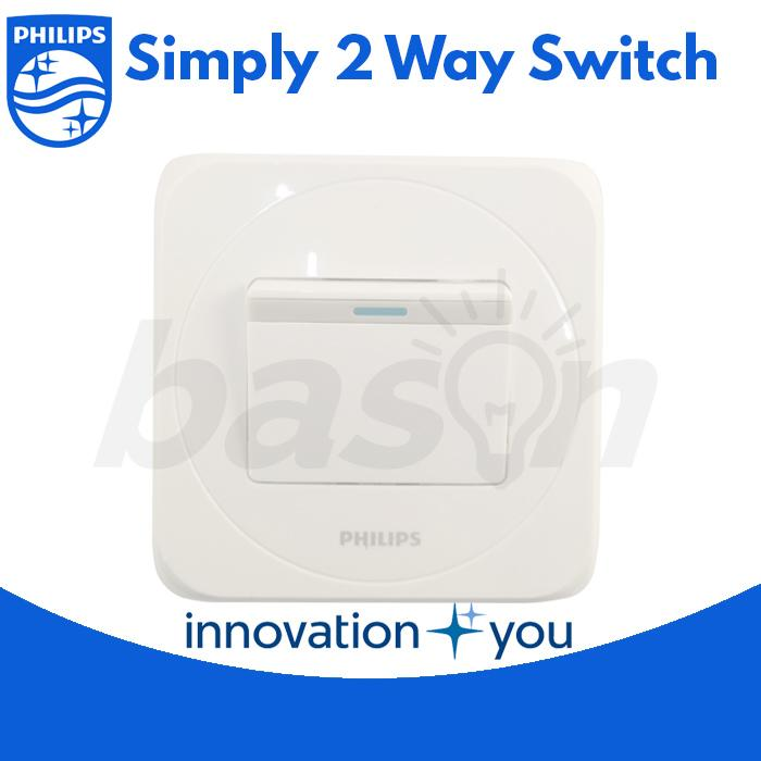 Philips Simply 1 Gang 2 Way Switch - Saklar Hotel - 4 Pcs - Putih