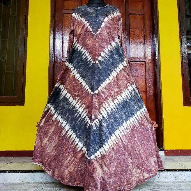 gamis kaos busui motif batik bahan adem  berkawalitas