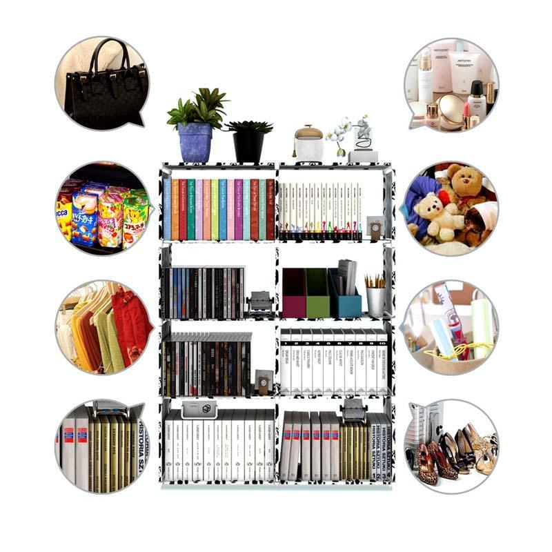 Livia Rak Buku Susun Portable 2 Sisi - Rak Serbaguna Minimalis - Lemari Buku 2 Sisi