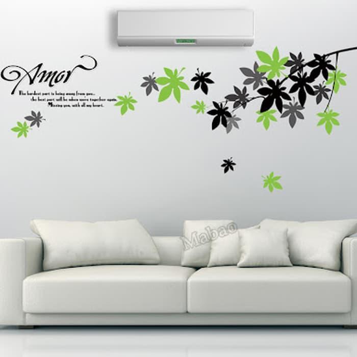 wall sticker/wall stiker transparan 50x70-AY718-amor leaves