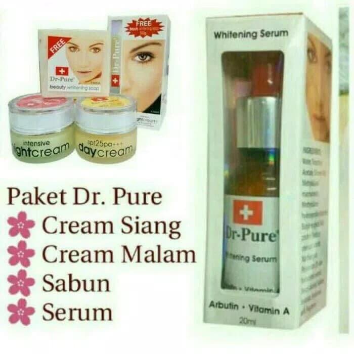 Dr Pure Paket Whitening Cream Plus Sabun .Serum Dr.Pure -Paket Perawatan Wajah