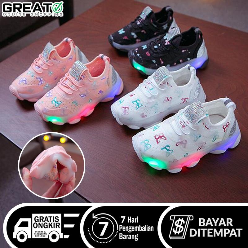 sepatu anak 012 led motif kupu-kupu sneakers trenslip on sport anak perempuan/laki-laki cewe sepatu kets anak cewek/cowok
