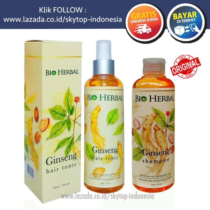 Bio Herbal Ginseng Hair Tonic dan Shampoo Original BPOM Untuk Rambut Rontok Ketombe Menumbuhkan Rambut Botak