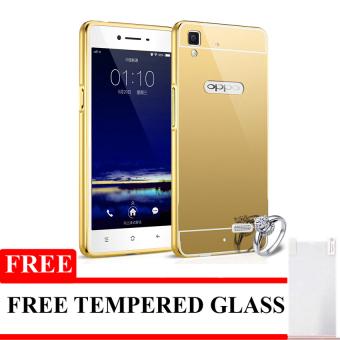 Bumper Mirror Untuk Oppo F1 / A35 - Gold - Free Tempered Glass