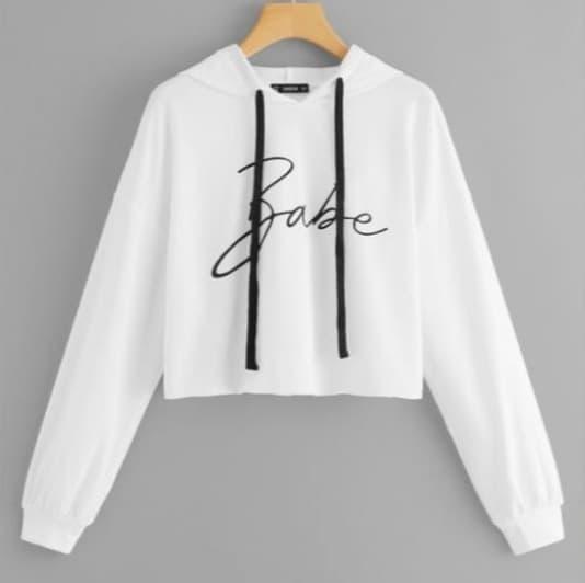 MFcollection Sweater / Outer Wanita Crop Hoodie BABE Jumbo Fit XL - Putih