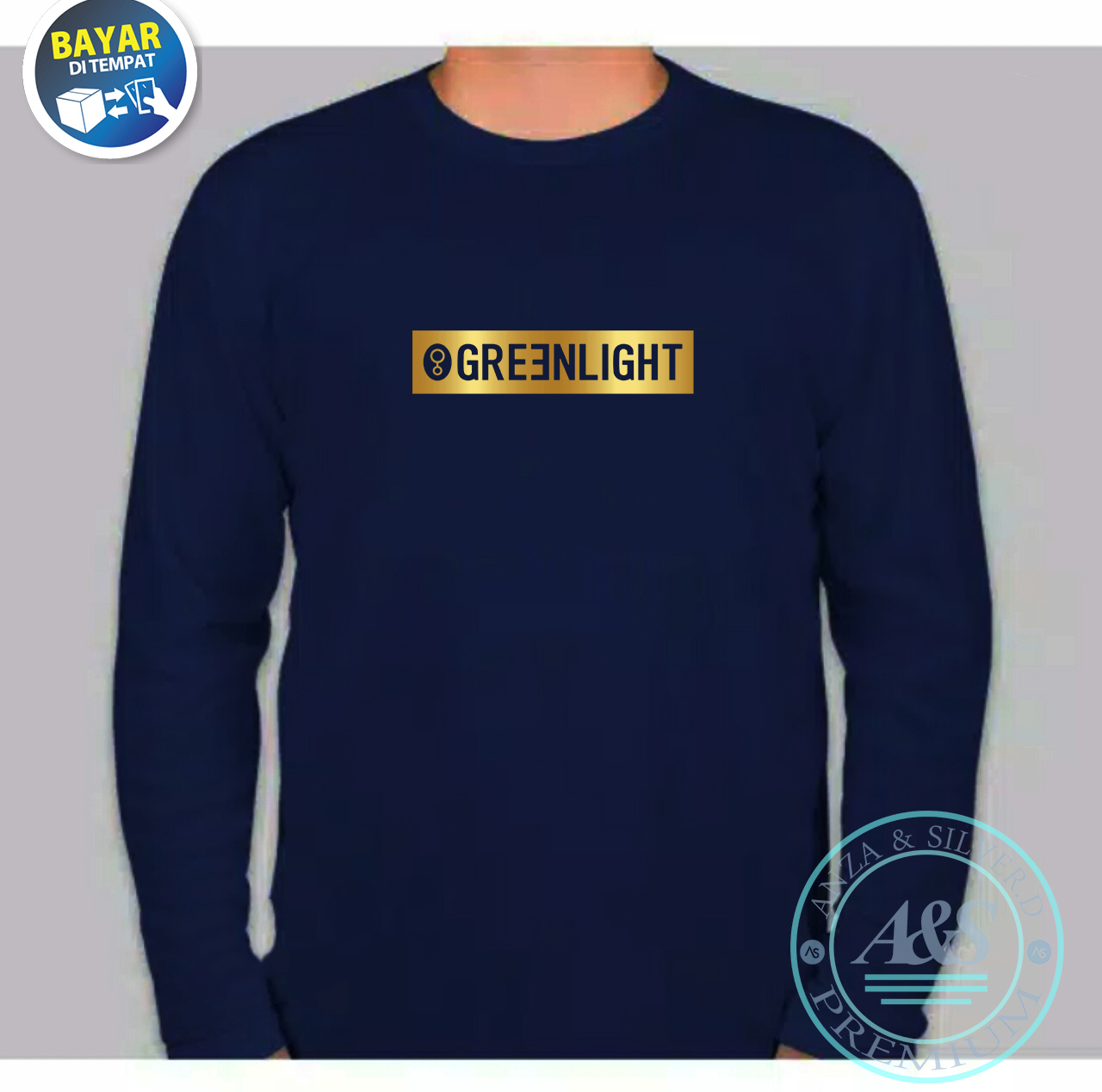 kaos distro greenlight  bulat keren premium quality text black