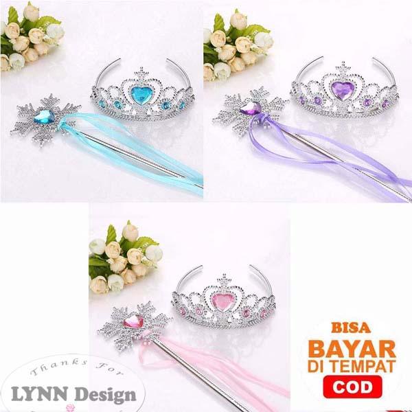 aksesoris mahkota tongkat frozen elsa snowflake cinderella princess