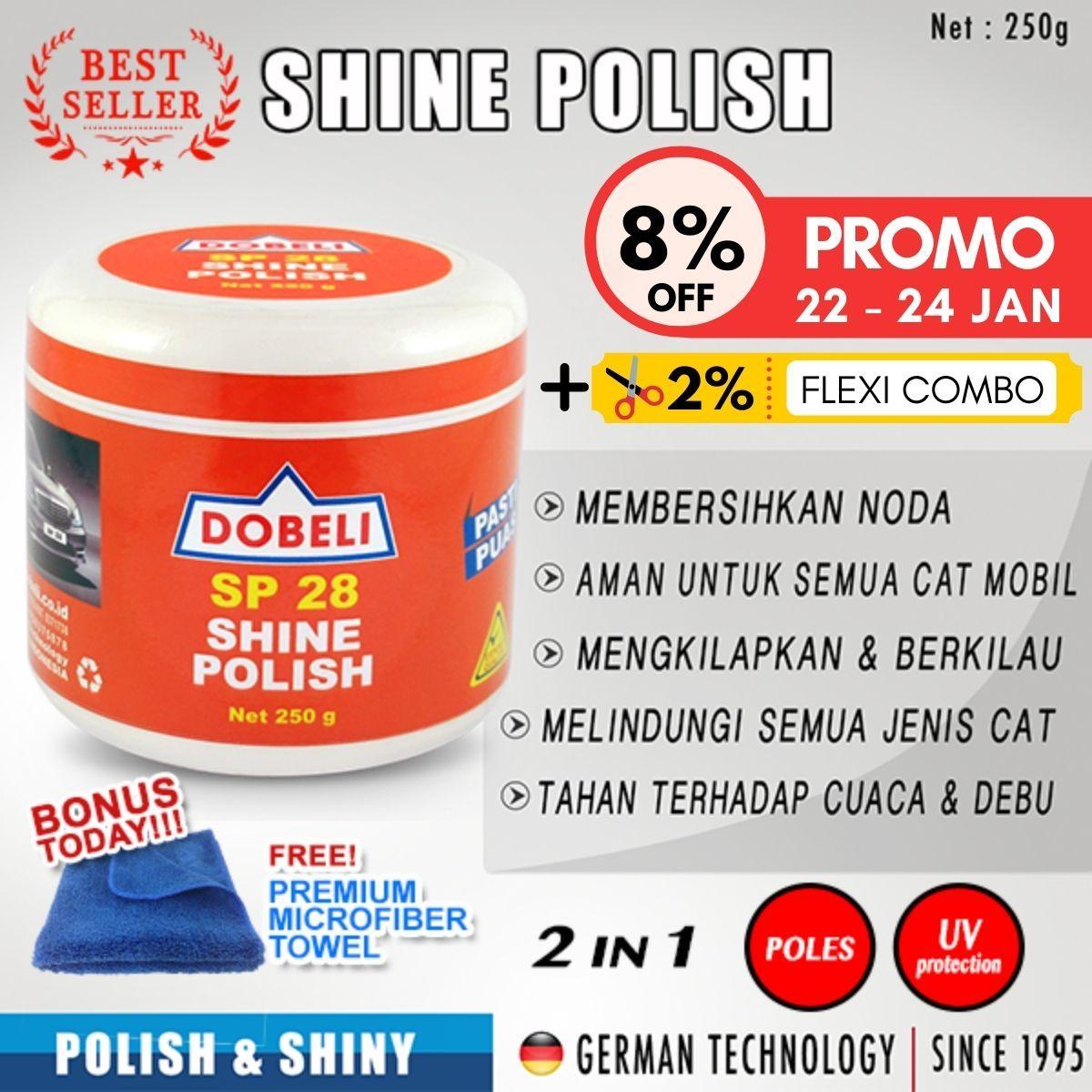2 in 1 – poles mobil / mengkilapkan & melindungi cat / [+ bonus free microfiber] 100%original / sp 28 shine polish – pembersih body mobil  – do 250g
