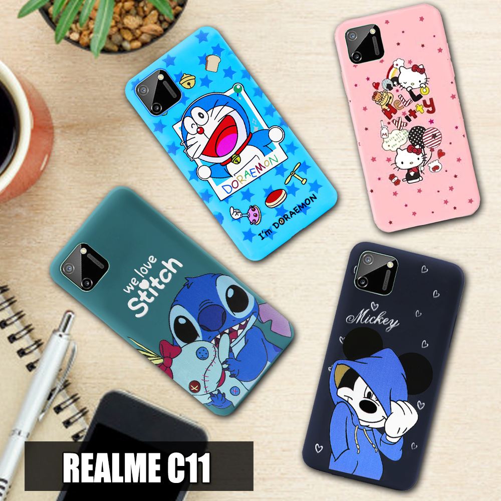 case for oppo realme c11 (65 inch)  softcase karakter hello kitty doraemon stitch mickey mouse character disney cartoon