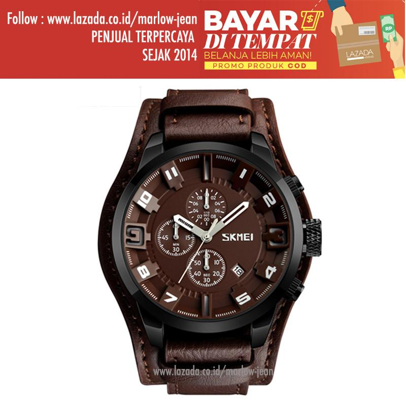 SKMEI Jam Tangan Analog Pria Strap Leather Luxury Jam Tangan Keren Waterproof 9165