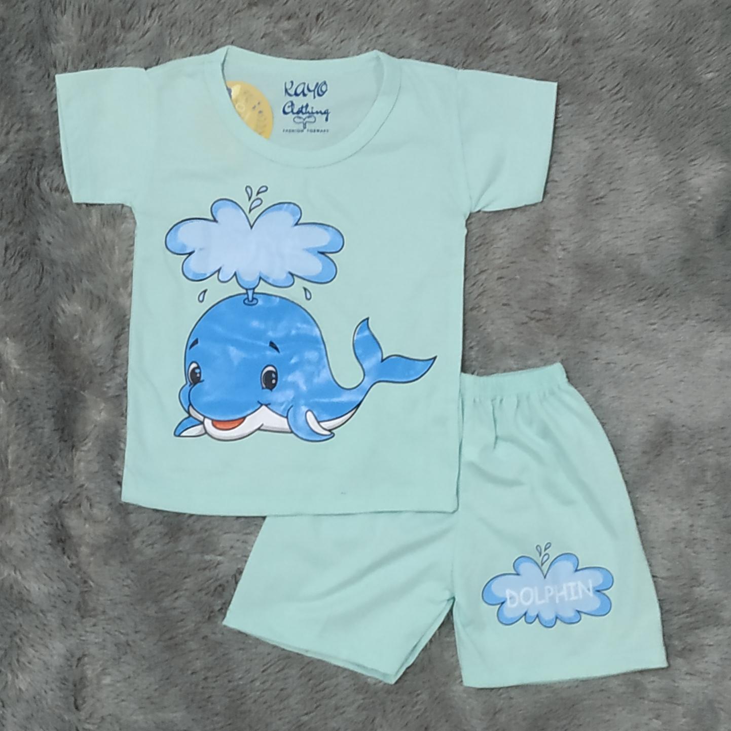 cod setelan baju anak anak motif dolphin size xs s m l untuk anak usia 0-5 tahun
