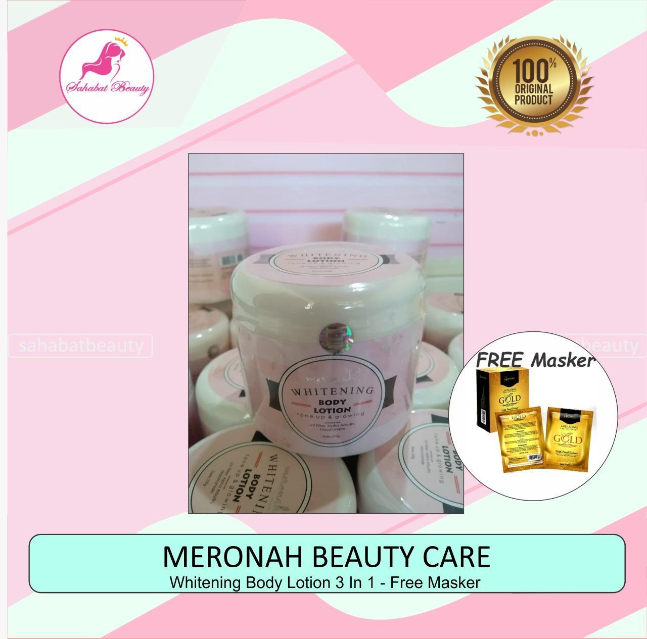 meronah body lotion whitening 3 in 1 original free masker!