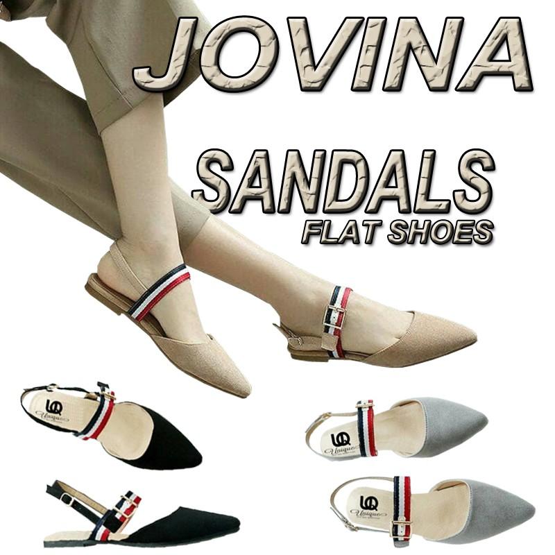 unique flat shoes emily fs05  warna hitam cream abu