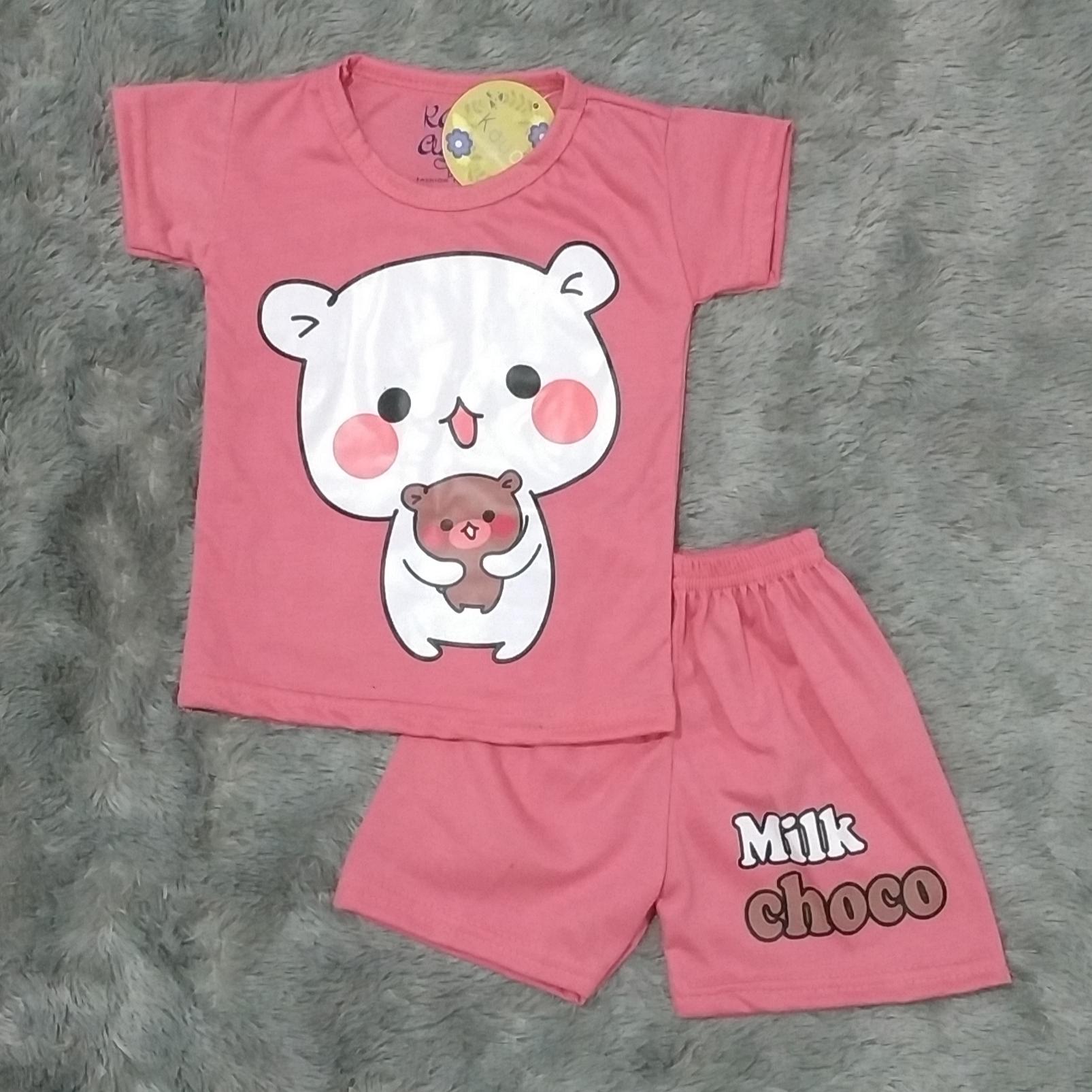 cod setelan baju anak anak motif milk choco size xs s m l untuk anak usia 0-4 tahun