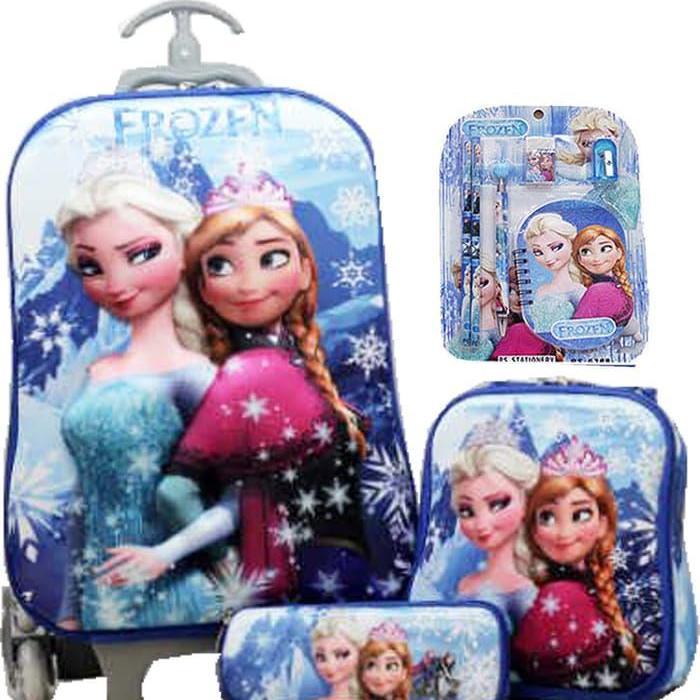 BGC Disney Frozen Elsa Anna Blue Snow 2 Koper Set Troley T + Lunch Box +