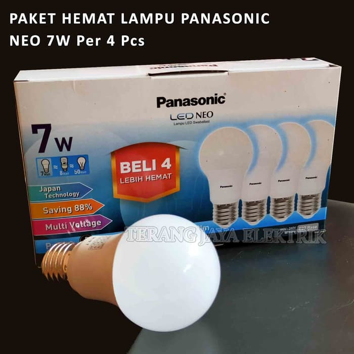 paket 4 pcs lampu led neo 7 watt putih panasonic