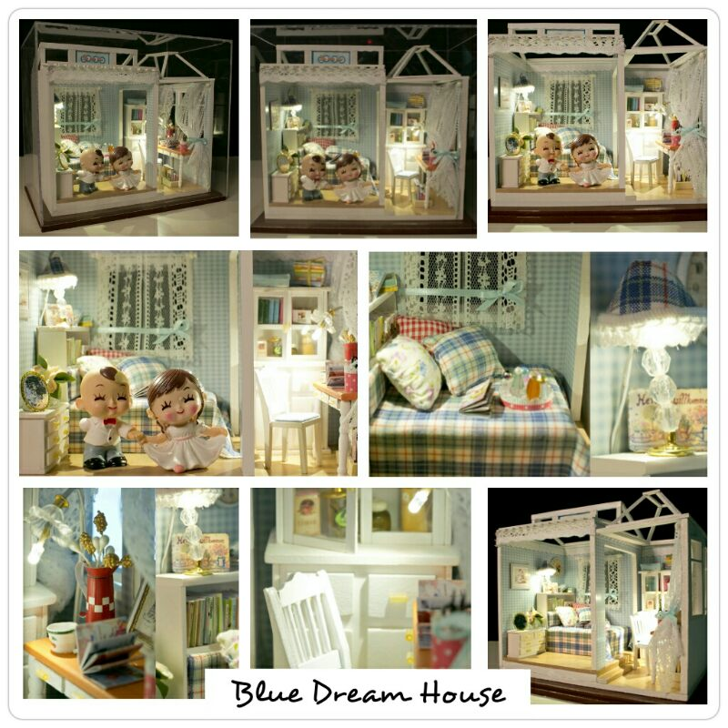 diy miniature doll house mini room with led lamp acrylic material only – miniatur rumah (paket bahan-bahan / rakit sendiri)