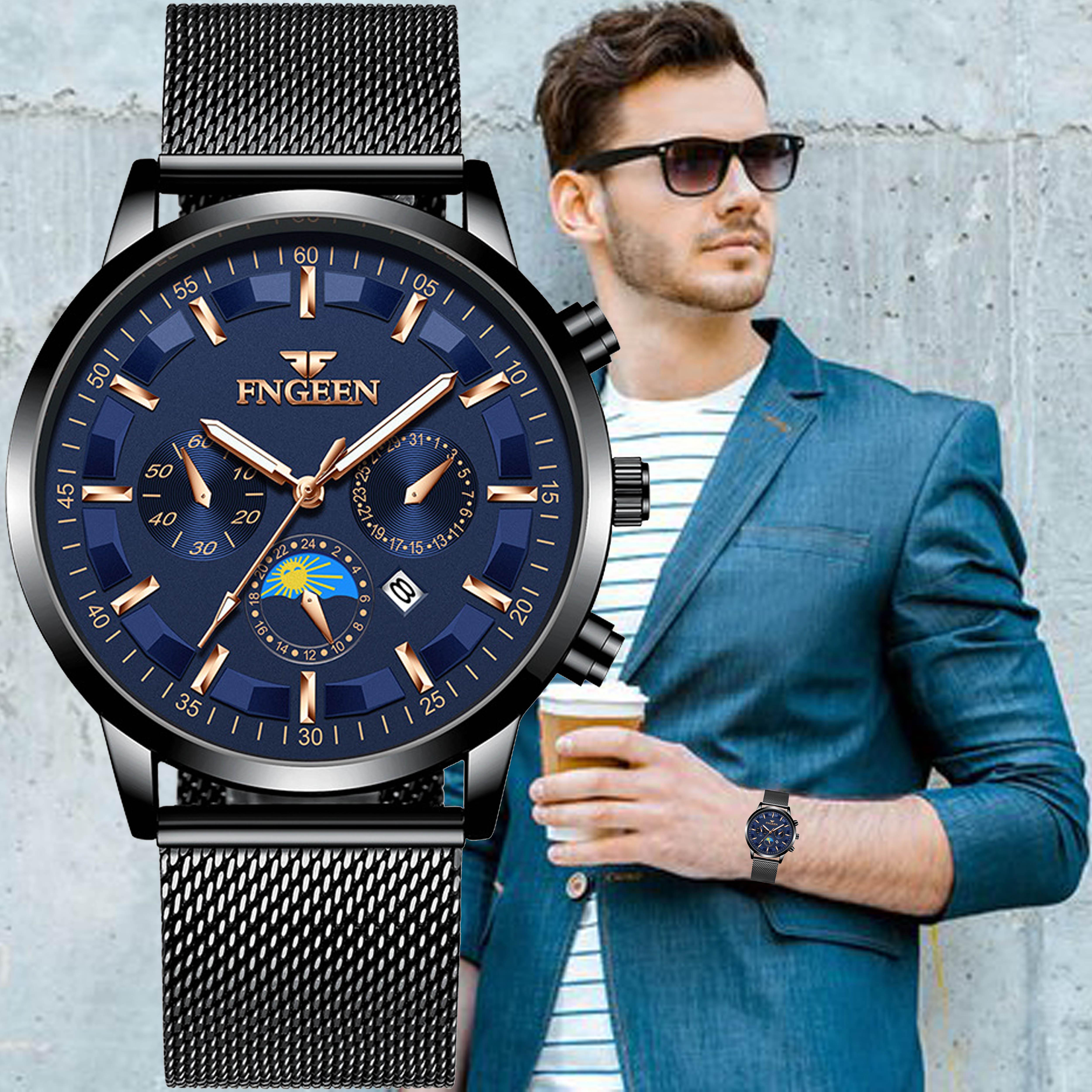 galery shop jam tangan pria  fashion jam tangan tali leather kaca kristal free box jam tangan anti air jam tangan quarts import ori fn01