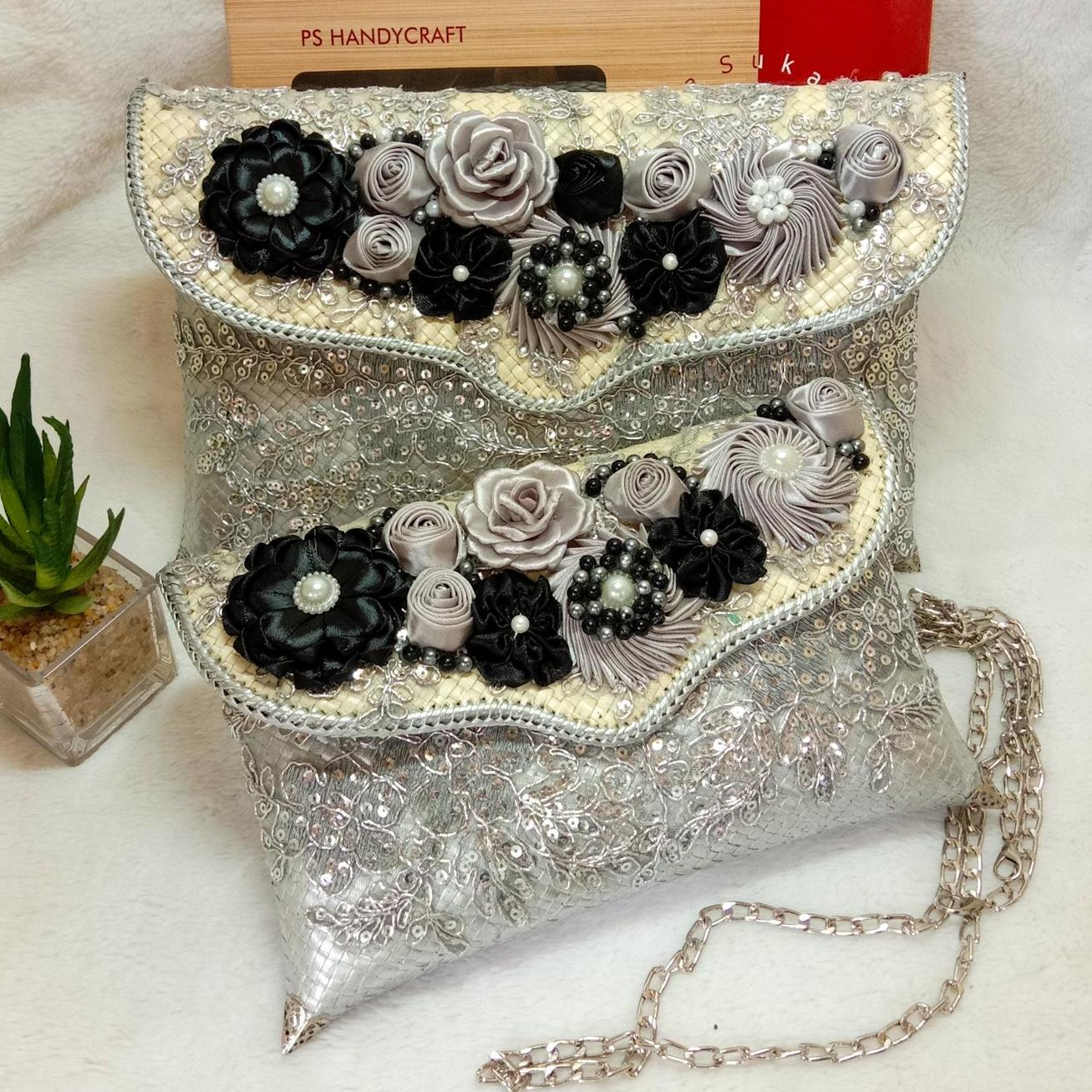 putra sukapura clutch party dompet anyaman pantas party eksklusif clutch pesta wanita silver premium