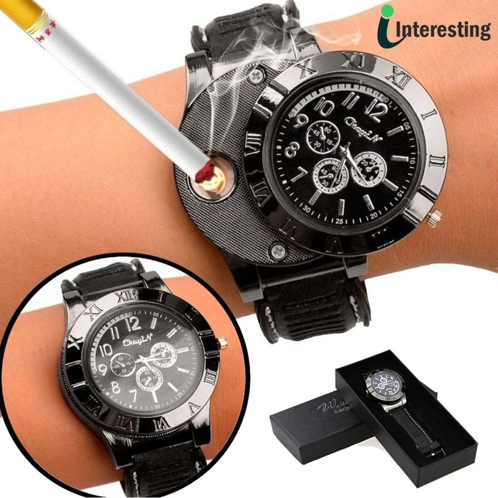 jam tangan pria korek elektrik usb api rokok cigarrete lighter watch jam tangan analog