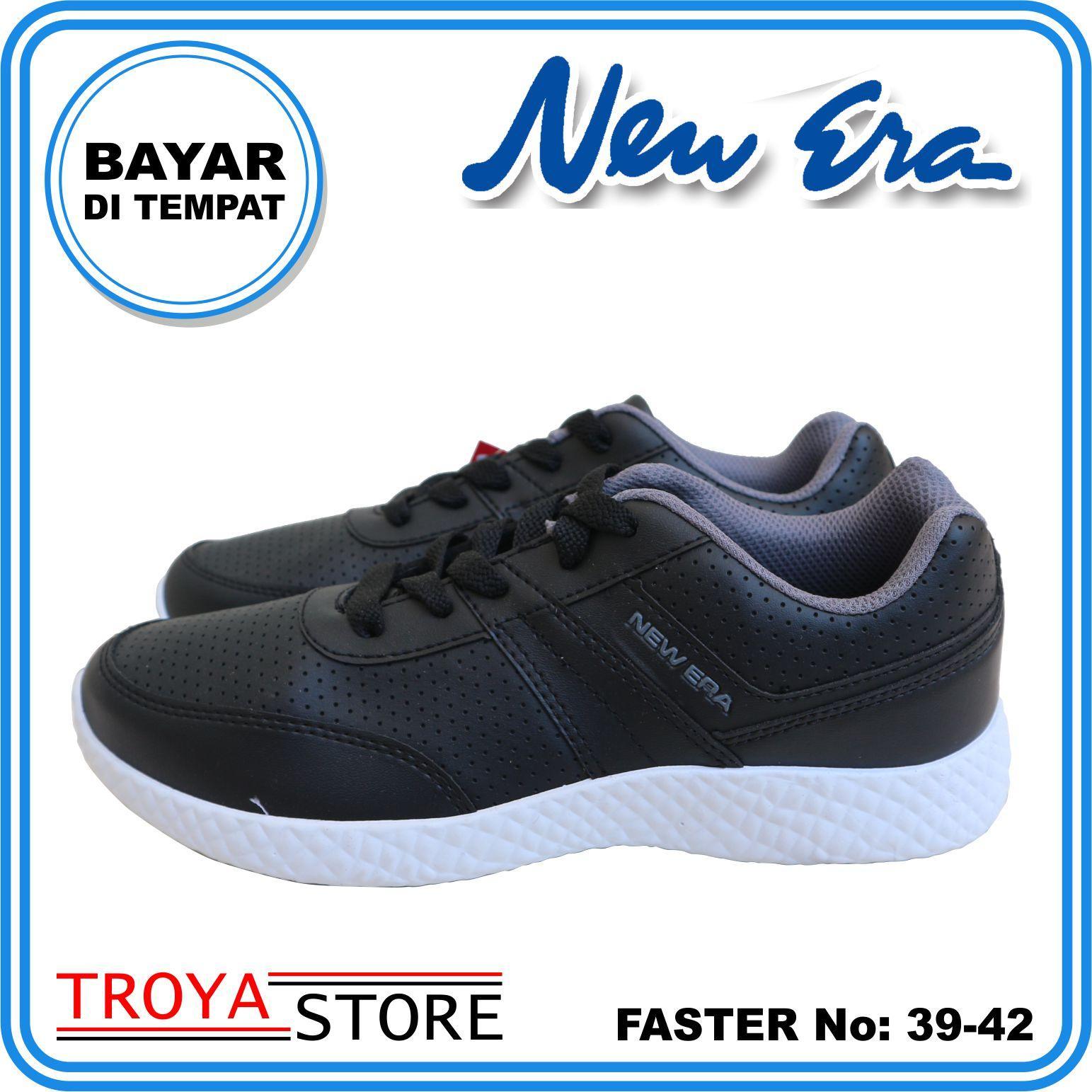 troya – new era sepatu badminton faster 39-42 putih white hitam / sepatu lari pria sporty / sneakers badminton pria  berkualitas shsm / joging santai sepatupria troyastore